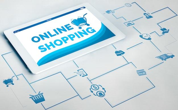 Online winkelen en internetgeldtechnologie Premium Foto