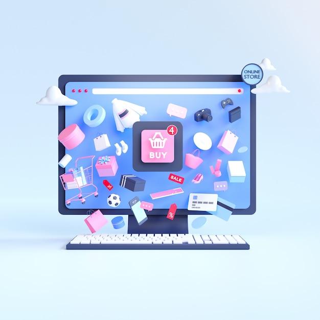Online winkelen. online winkel op website of mobiele applicatie. 3d-rendering achtergrond. digitale marketingwinkel Premium Foto
