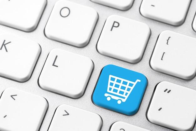 Online winkelwagentje pictogram voor e-commerce concept Premium Foto