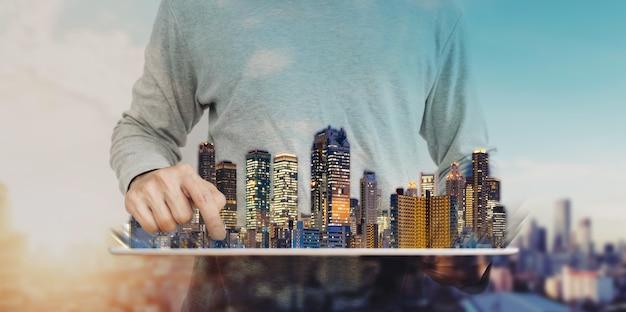 Onroerend goed bedrijf en bouwtechnologie Premium Foto