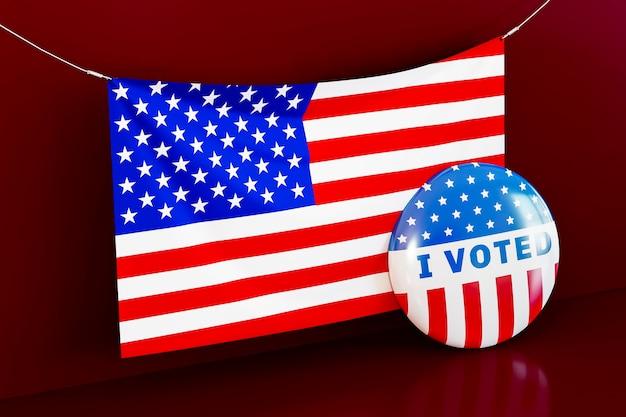 Ons verkiezingsconcept met amerikaanse vlag Gratis Foto