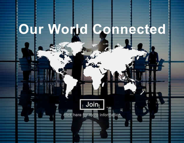 Ons wereldwijd verbonden sociale netwerkinterconnectieconcept Gratis Foto