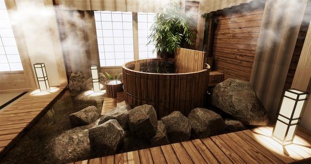 Onsen kamer interieur met houten bad en decoratie houten japanse stijl Premium Foto