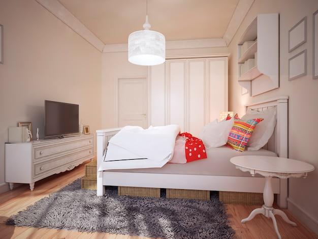 Ontwerp art deco slaapkamer. Premium Foto