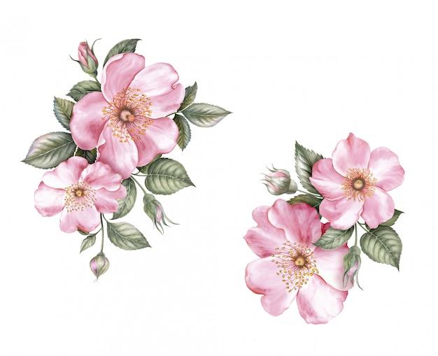 Ontwerp met lente bloemen. Premium Foto