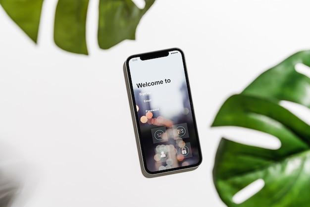 Ontwerp van het smartphonescherm, applicatie-toegang, login, moderne concepten. Premium Foto