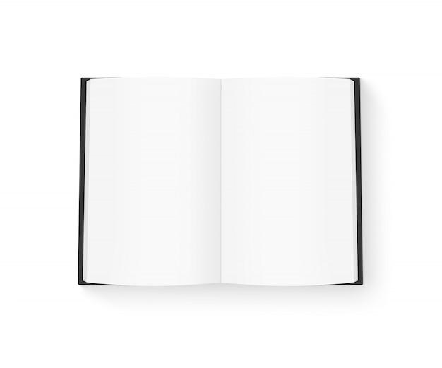 Open blanco boek met zwarte cover mock up geïsoleerd op wit Premium Foto