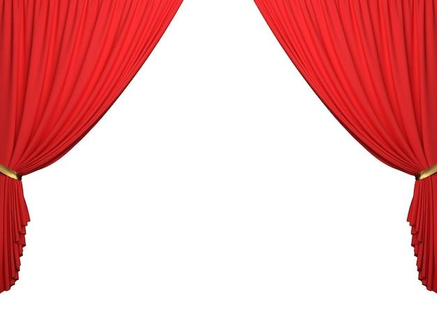 Open rode gordijnen op witte achtergrond met uitknippad | Foto ...