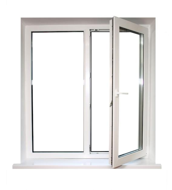 Open wit kunststof venster Premium Foto