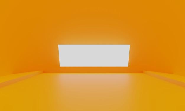 Oranje abstracte minimale lege ruimte als achtergrond met gloeiend licht Premium Foto