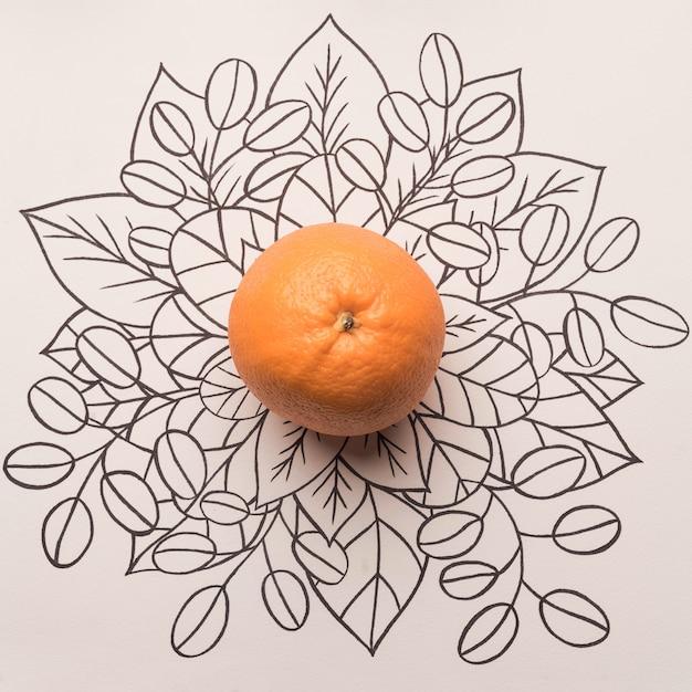 Oranje fruit over overzichts bloemenachtergrond Gratis Foto