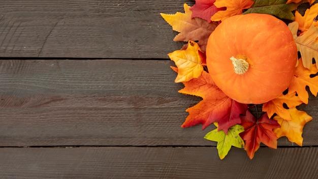 Oranje pompoen op kleurrijke bladeren met kopie ruimte Gratis Foto