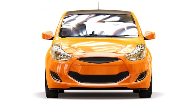 Oranje stadsauto met glanzend oppervlak Premium Foto