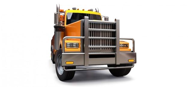 Oranje vrachtsleepwagen om andere grote vrachtwagens te vervoeren Premium Foto
