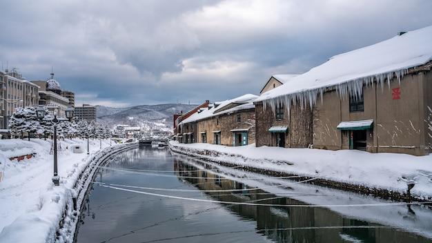 Otaru-kanaal in de winter Premium Foto