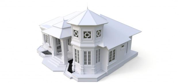 Oud huis in victoriaanse stijl. illustratie op een witte ondergrond. soorten van verschillende kanten Premium Foto