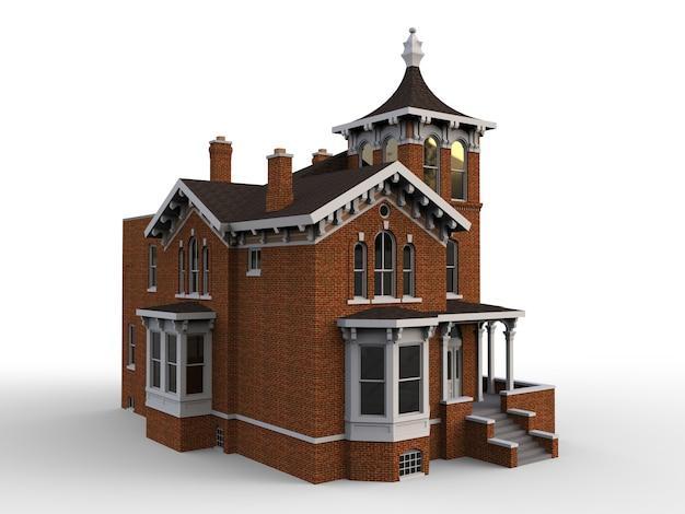 Oud huis in victoriaanse stijl. illustratie op witte achtergrond. soorten van verschillende kanten. 3d-weergave Premium Foto