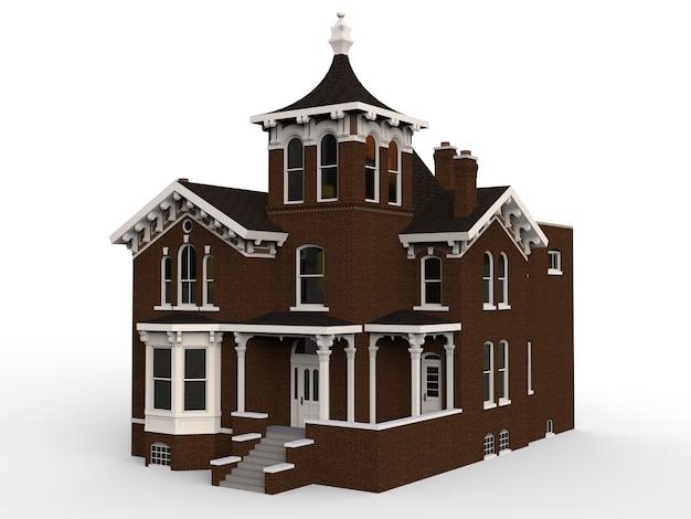 Oud huis in victoriaanse stijl. illustratie op witte achtergrond. soorten van verschillende kanten Premium Foto