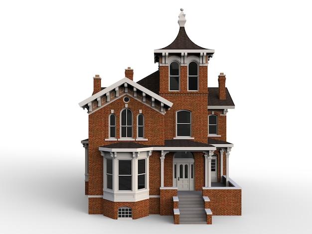 Oud huis in victoriaanse stijl. illustratie op witte achtergrond. Premium Foto