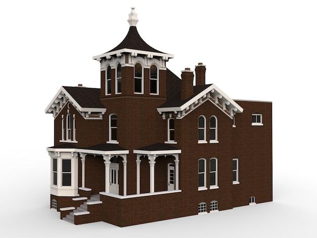 Oud huis in victoriaanse stijl. illustratie op witte ruimte. soorten van verschillende kanten. 3d-weergave. Premium Foto