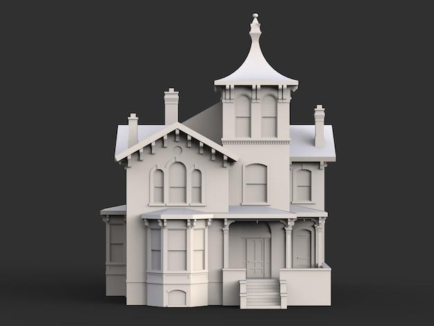 Oud huis in victoriaanse stijl. illustratie op zwart oppervlak. soorten van verschillende kanten Premium Foto