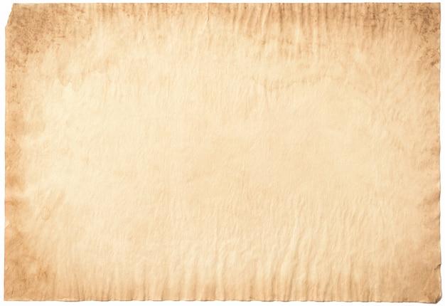Oude document verouderde wijnoogst of textuur op witte achtergrond Premium Foto