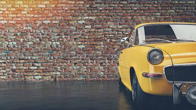Oude gele vintage auto. Premium Foto