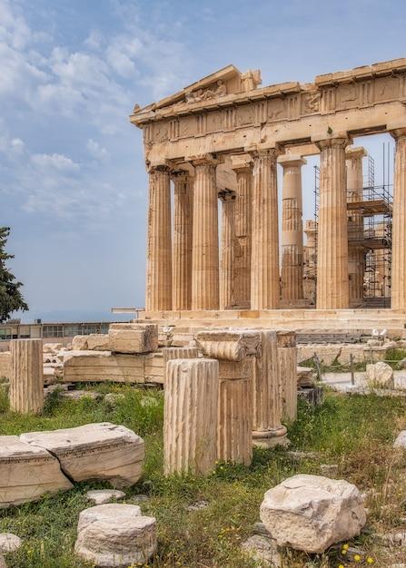 Oude griekse ruïnes op de akropolis in athene griekenland Gratis Foto