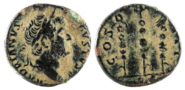 Oude romeinse bronzen quadrans munt van keizer hadrianus. Premium Foto
