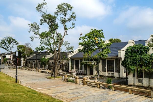Oude stadsgebouwen en straten in nanjing, china Premium Foto