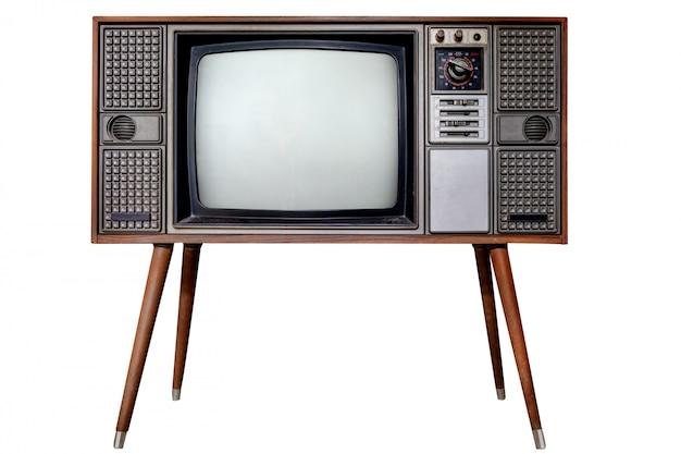 Oude tv isoleert op wit met het knippen van weg Premium Foto