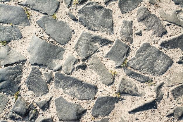 Oude weg van geplaveide weg. bovenaanzicht Premium Foto