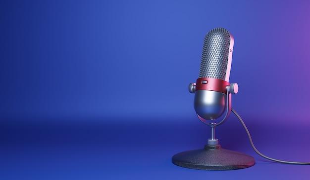 Ouderwetse retro zilveren en rode kleur chroom met knop ontwerp microfoon geïsoleerd op blauwe achtergrond Premium Foto