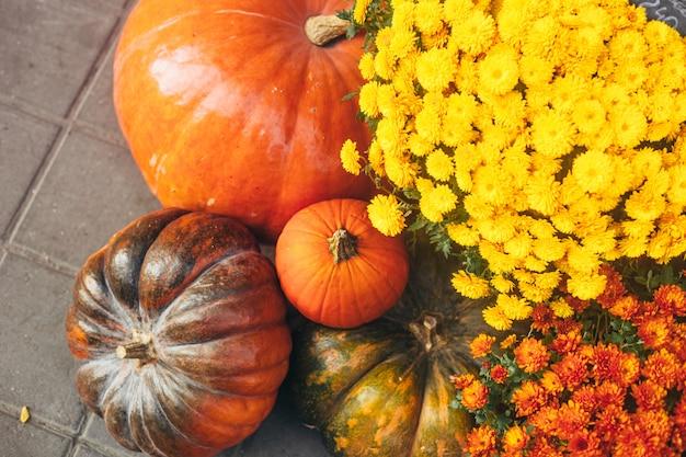 Outdoor herfst of herfst decoraties met grote pompoenen en verschillende bloemen. Premium Foto