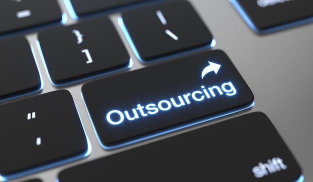 Outsourcing van tekst op toetsenbordknop Premium Foto