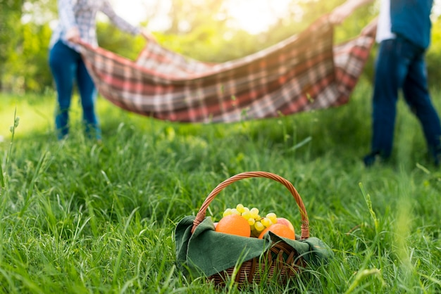 Paar met romantische picknick Gratis Foto