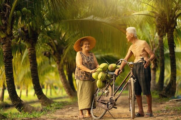 Paar van de oude dagman en vrouw die kokosnoot in kokosnotenlandbouwbedrijf verzamelen in thailand. Premium Foto