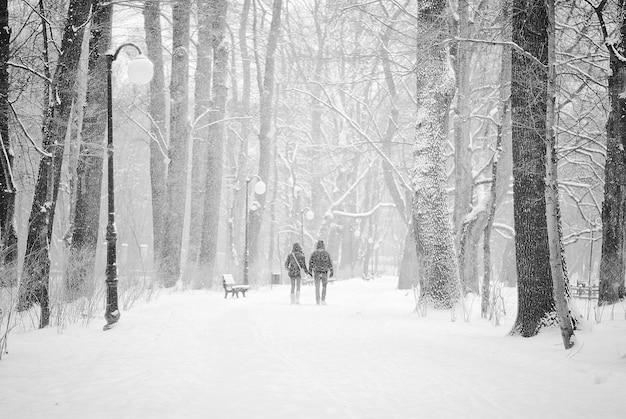 Paar wandelen op de met sneeuw bedekte weg onder de zware sneeuwval Gratis Foto