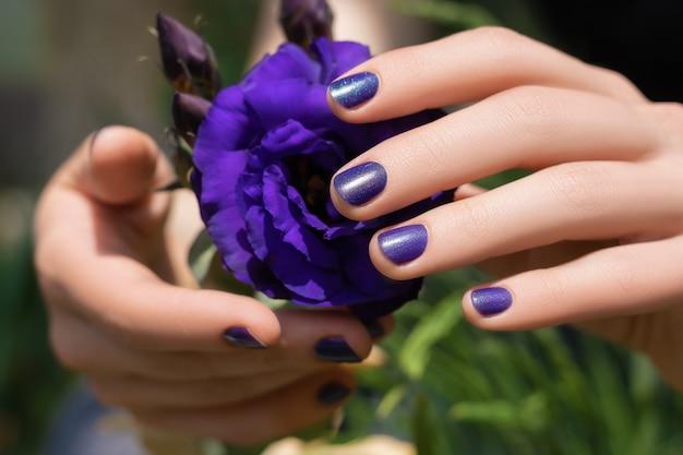 Paars nagelontwerp. vrouwelijke handen met purpere manicure die eustomabloem houden Gratis Foto