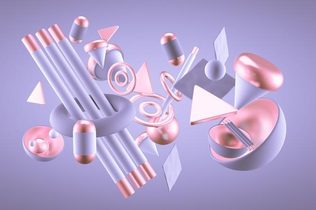 Paarse abstracte minimalisme achtergrond met vliegende objecten en vormen. 3d-weergave. Premium Foto