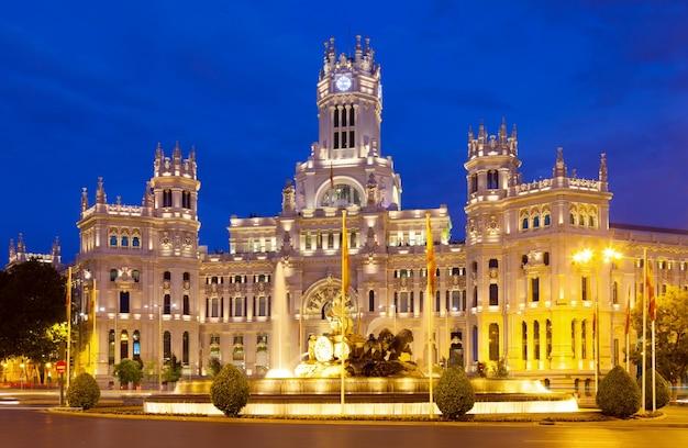 Palacio de cibeles in de zomeravond. madrid Gratis Foto