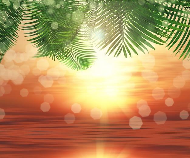Palm met zee achtergrond Gratis Foto