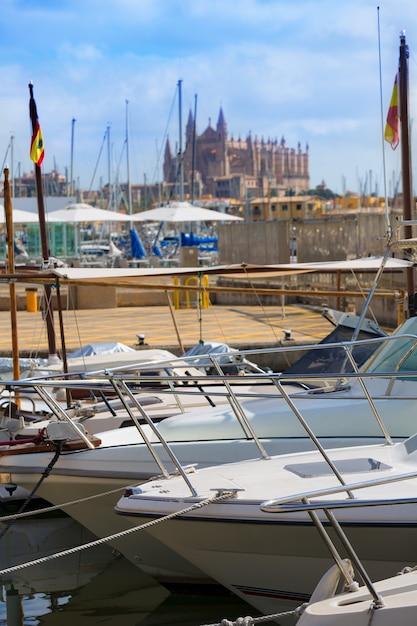 Palma de mallorca havenhaven mallorca kathedraal Premium Foto