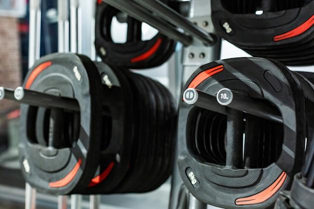 Pannenkoeken voor een reep. sportschool. uitrusting voor een sporthal. Premium Foto