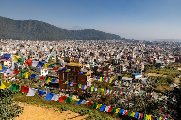 Panorama aan de stad van katmandu, nagarjun, nepal Premium Foto