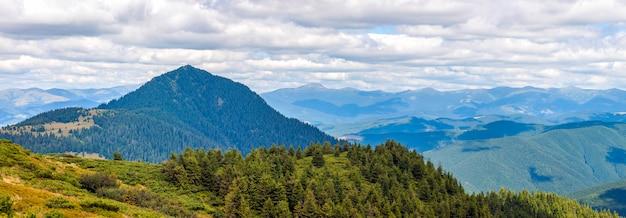 Panorama van de karpaten in de zomer zonnige dag. Premium Foto