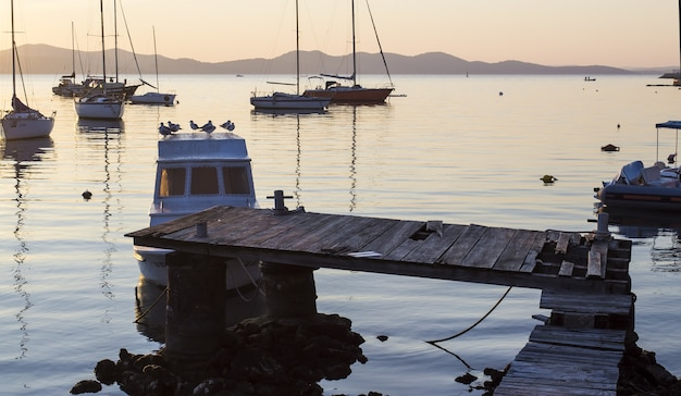 Panoramische opname van een haven met zeilboten en een oud dok Gratis Foto