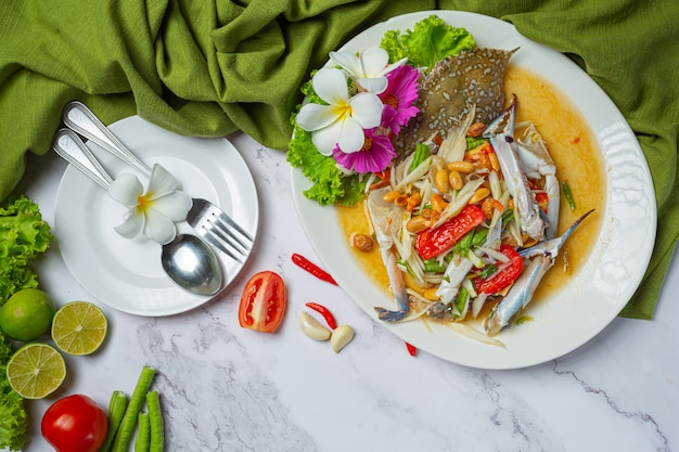 Papaya salad papaya blue crab vers thais eten. Gratis Foto