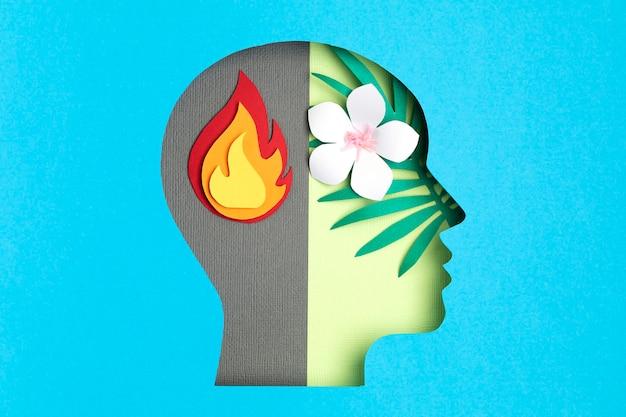 Papercut hoofd, concept voor volwassen bipolaire stoornis Premium Foto