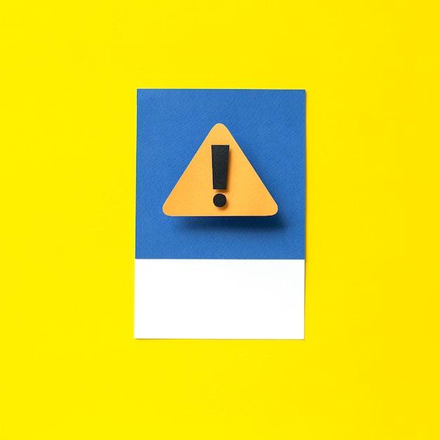 Papierkunst van een waarschuwingsbord Gratis Foto